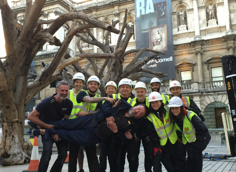 Momart and Ai Weiwei studio installing artwork at the RA