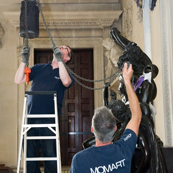 Removal of bronze from Houghton Hall